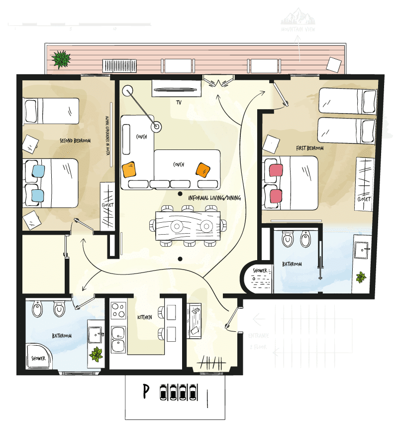 Case vacanza Valle d'Aosta - Pianta Tourneuve5 Floor 2 - Alp Apartments