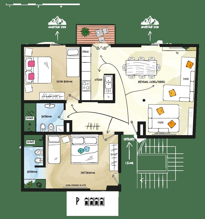 Case vacanza Valle d'Aosta - Pianta Tourneuve5 Floor 1 - Alp Apartments